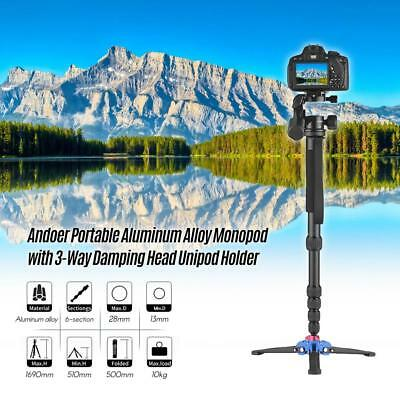 Andoer Aluminum Alloy 6-Section Camera Video Monopod 3 Way Damping Head For Dslr