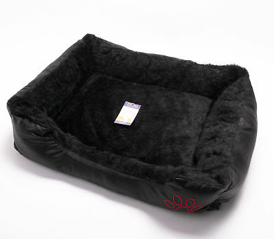 Luxury Dog Cat Puppy Kitten Pet Bed Cushion Fur Leather Look Basket Mat Black -S