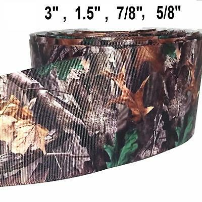 "Grosgrain Ribbon 5/8"" , 7/8"", 1.5"" Or 3"" Tree Camouflage Camo Cm4 Printed Bulk"
