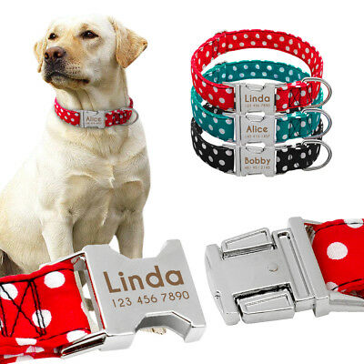Personalized Dog Collar with Name Plate Small Large Padded Collar Free Engraving