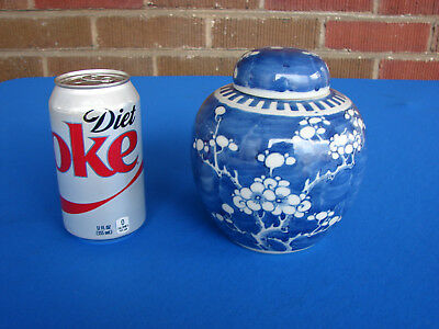 Antique Chinese Porcelain Blue & White Prunus Ginger Jar With Lid