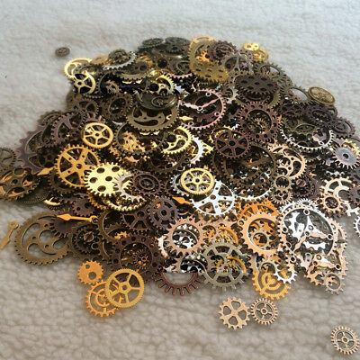 50g100g DIY Watch Parts Steampunk Hundreds Pieces Vintage Antique Gears Lot