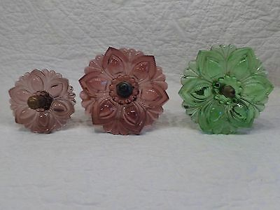 3 Antique Victorian Colored Glass Curtain Tie Backs.