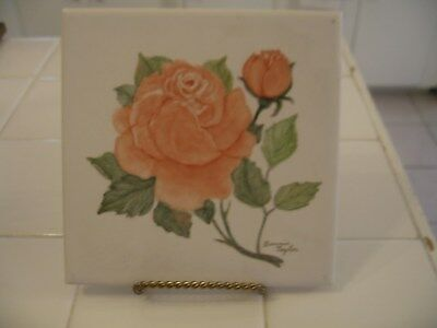 Beautiful Vintage Hand Painted And Signed Ceramic Tile Picture With Peach Roses