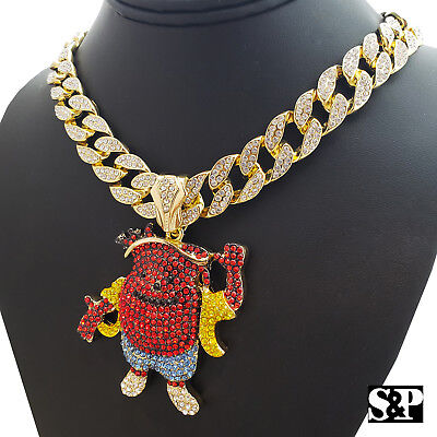 """Hip Hop Iced Gold Tone Jesus Face /& 18/"""" Iced Rollie Link Choker Chain Necklace"""
