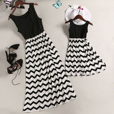 US Mother and Daughter Casual Boho Stripe Maxi Dress Mommy&Me Matching Outfits