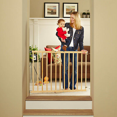 Stairway Swing Baby Gate Safety Wood Door Top Stairs Toddlers