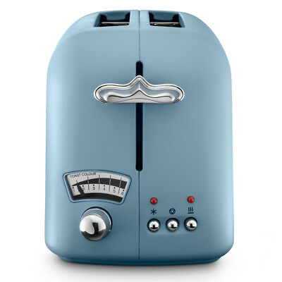 NEW DeLonghi Argento Flora Two Slice Toaster Blue