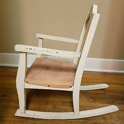 Original Antique Child's Rocking Chair Wood 1900's, Padded Upholstered Seat