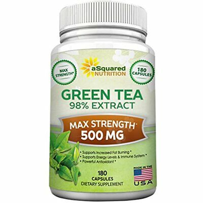 Green Tea Extract Supplement EGCG 180 Capsules Max Potency Fat Burner 500 Mg Low