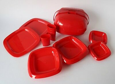 Vintage Retro 70s RED PLASTIC PICNIC BALL SET Plates Bowls Cups COMPLETE Spain