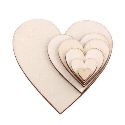 Unfinished Wooden Love Heart Shape Embellishment Wedding Plaques Decor 10-80mm