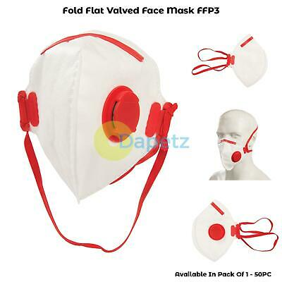 Dust Mask Respirator Fold Flat Valved FFP3 Protective Safety Filter 1-50 packs