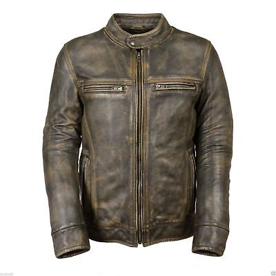 Leather jacket for men distressed waxed antique green motorcycle biker top upper