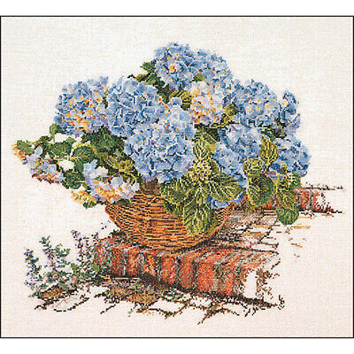 "Thea Gouverneur Blue Hydrangea On Aida Counted Cross Stitch Kit-17.25""X15.25"" 16"
