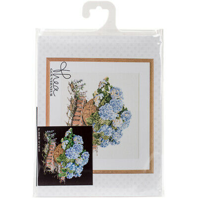 "Thea Gouverneur Blue Hydrangea On Aida Counted Cross Stitch Kit-14.5""X12.75"" 18"