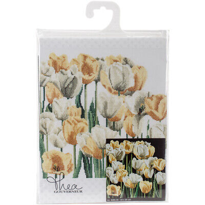"Thea Gouverneur Tulips On Aida Counted Cross Stich Kit-9.5""X9.5"" 18 Count"