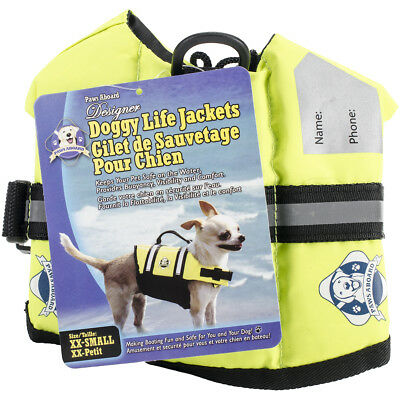 Fido Pet Products Paws Aboard Doggy Life Jacket XXS-Safety Neon Yellow