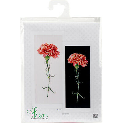 "Thea Gouverneur Carnations Red On Aida Counted Cross Stitch Kit-6.5""X16.5"" 18 Co"