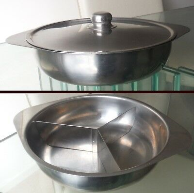 Retro Swedish Stainless Steel Serving Dish-With Original Divides