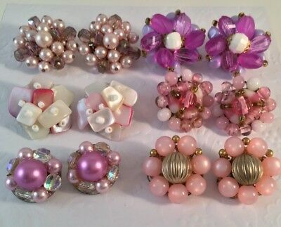 Lot Of 6 Vintage Pairs Of Beaded Cluster Clip On Earrings Japan W. Germany #e02