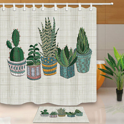 Succulent Cactus Bathroom Waterproof Fabric Shower Curtain With