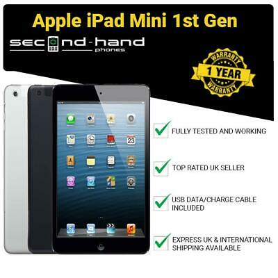 "Apple iPad Mini (1st Gen) 16/32/64GB Wi-Fi or Cellular Unlocked 7.9"" Black/White"