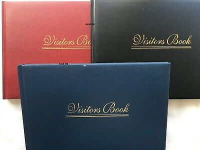Quality Leather Look Visitors Book In 2 Colours, Red Or Black