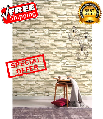 Wallpaper Sticker Adhesive Peel Stick Natural Stacked Stone Decor Roll 20.5x16.5