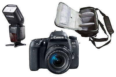 NEW Canon 77D + EF-S 18-55mm IS STM + Bag + Flash - UK NEXT DAY DELIVERY