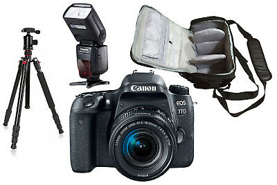 NEW Canon 77D + 18-55mm STM + Bag + Flash + Tripod - UK NEXT DAY DELIVERY