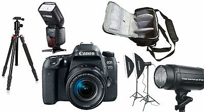 NEW Canon 77D +18-55 STM +Bag+Flash+Tripod+Lighting Kit - UK NEXT DAY DELIVERY