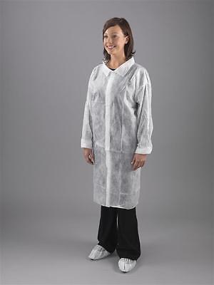White Disposable Visitor Lab Coat quality non woven velcro fastening coverall