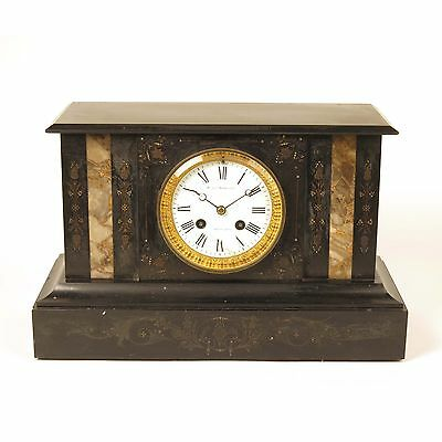 Japy Freres clock antique French mantel shelf black marble case Lee Worms 19th c