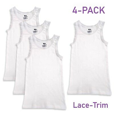 Girls Lace Trim Undershirts Cotton Tank Tops Solid White - Pack of 4 - All Sizes