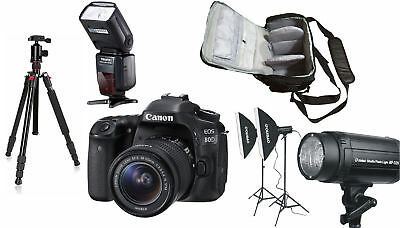 Canon 80D + 18-55 STM+KamKorda Bag+Flash+Tripod+Lighting Kit - UK NEXT DAY DEL