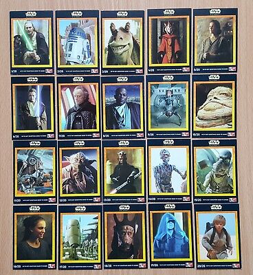 Star Wars Set of 20 Cards from 1999 Free P&P to UK