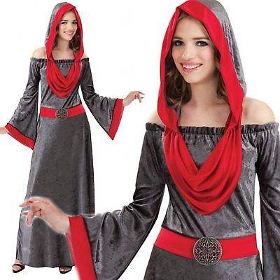 Adult Ladies Gothic Deathly Woman Medieval Fancy Dress Halloween Costume Outfit