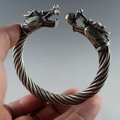 Chinese handmade old Tibetan silver bracelet/Double dragon bangle