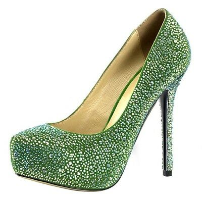 682f907f45a93e SALE %%% Elegante Strass Plateau High Heels Pumps Grün Pleaser USA  Damenpumps