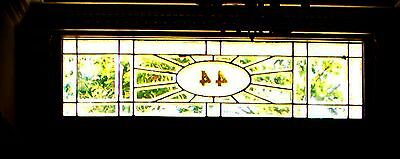 Antique stained glass  transom Leaded Window bevel clear ornate