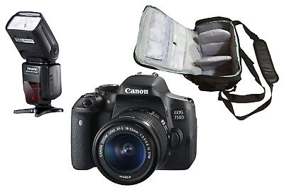 NEW Canon 750D + EF-S 18-55mm IS STM + KamKorda Bag + Flash + UK NEXT DAY DEL