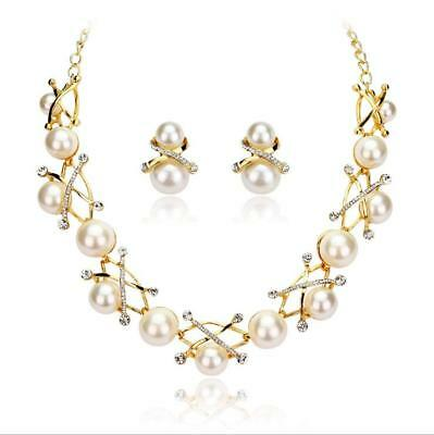 Fashion Charm Pearl Flower Necklace Earring Lady Two-piece Set Pendant Party