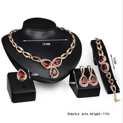 Bridal Red Crystal Fashion Jewelry Four-piece Necklace Earrings Ring Bracelet