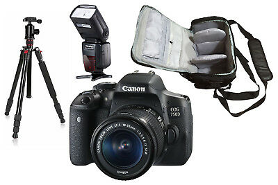 NEW Canon 750D + 18-55mm IS STM + KamKorda Bag + Flash + Tripod UK NEXT DAY DEL