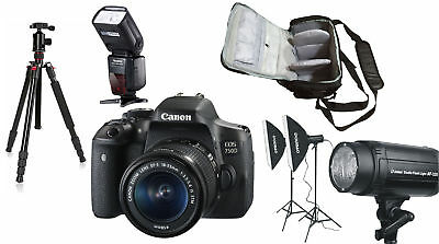 NEW Canon 750D + 18-55 STM +Bag+Flash+Tripod+Lighting Kit - UK NEXT DAY DEL