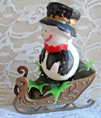 Vintage Celluloid Christmas Ornament - SLED WITH SNOWMAN & HOLLY LEAVES