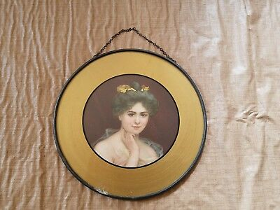 Vintage Victorian Woman Belle of Ball Flower Hair Stove Flue Cover