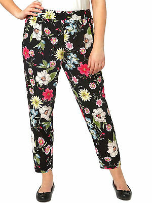 New EX Evans Black Floral Tapered Elasticated Trousers Plus Size 14 16 18 20 22