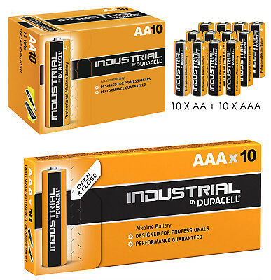 DURACELL INDUSTRIAL 10x AA 10x AAA ALKALINE BATTERIES PROCELL COMBI PACK MIX